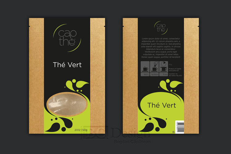 capthe - ambalaj pentru ceai - design eticheta