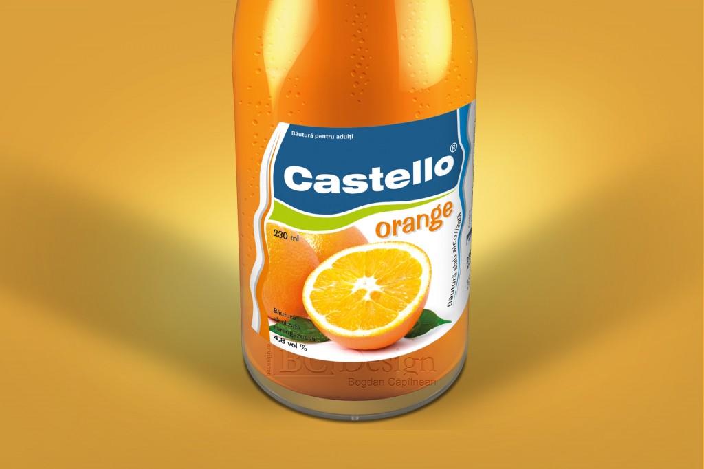 castello grafica eticheta bautura portocale
