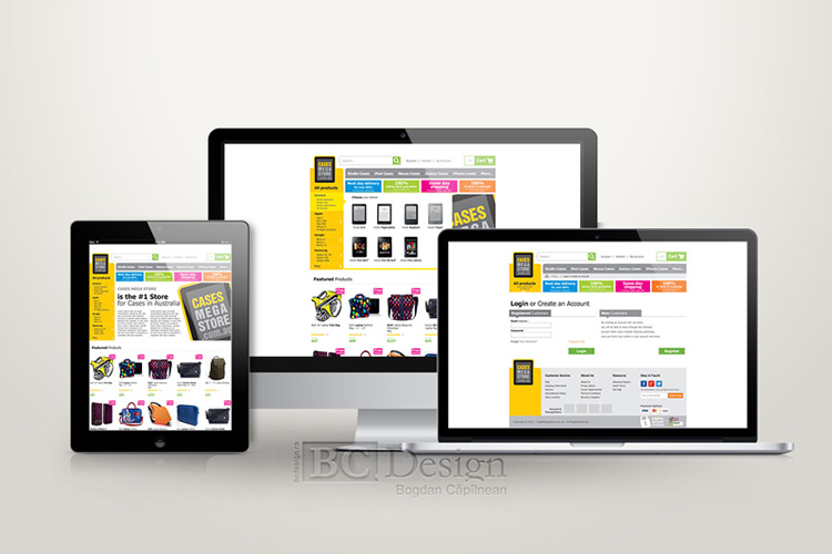 Cases Mega Store web design pentru magazin on-line